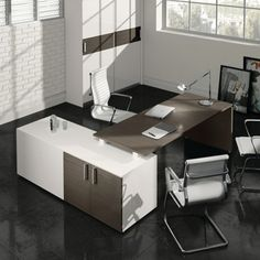 Γωνιακό γραφείο σε δύο διαστάσεις Office Furniture, Office Desk, Office Organization, Corner Desk, Commercial, Design, Home Decor, Ideas, Offices