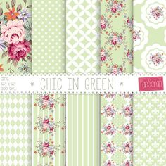 """Shabby chic digital paper : """"Chic in Green"""" floral digital paper with shabby roses on green background, decoupage paper, roses download"""