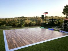 """Wood effect dance floor is made for """"Al Fresco"""" use this summer. New to our hire stock range this year and still unwrapped so far... Outdoor Dance Floors, Wedding Decorations, Environment, Patio, Fresco, Wood, Outdoor Decor, Range, Beautiful"""