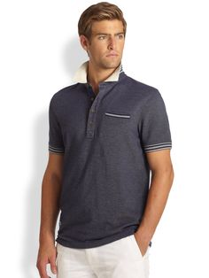 b09655fa Façonnable Striped Knit Polo Shirt in Gray for Men (BLUE) | Lyst Striped  Knit