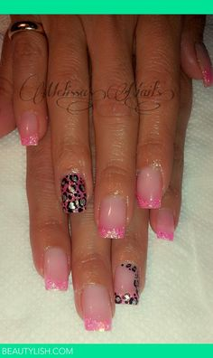 Simple Pink Glitter Tip Acrylic Nails With Cheetah Print . | Bianca melissa G.'s Photo | Beautylish