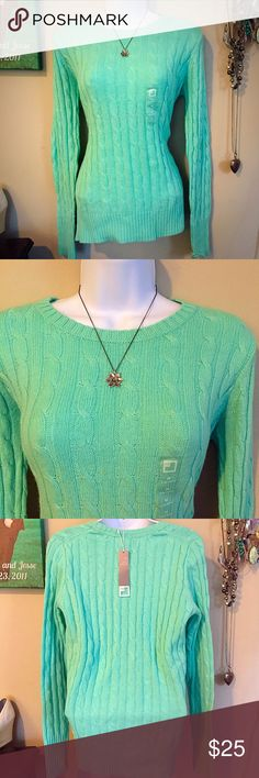 🚨PRICE DROP🚨 NWT Teal Cable Knit Sweater Lightweight teal sweater. NWT jcpenney Sweaters Crew & Scoop Necks