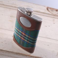 Green Plaid Personalized Flask