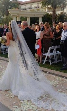 Wedding Dress Accessories - Veil Off White Cathedral Blanca Veils Lace Veil $75 USD - New With Tags/ Unaltered