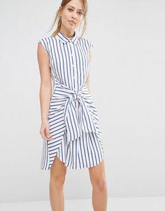 Image 1 of Closet Stripe Tie Front Dress Club Dresses, Casual Dresses, Fashion Dresses, Summer Dresses, Midi Dress With Sleeves, Dress Up, Shirt Dress, Tie Front Dress, Designer Kurtis