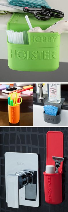 Portable silicone pocket that grips to any smooth, non-porous surface and lifts up to easily remove.