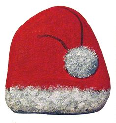 Painted Stone Santa Hat with White Fleece