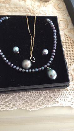Akoya blue pearls and Tahitian peacock baroque Pearl drop