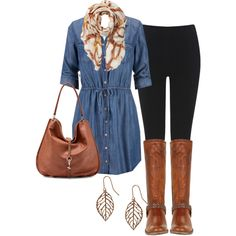 A fashion look from September 2014 featuring long shirt dress, denim jeggings and cognac leather boots. Browse and shop related looks.