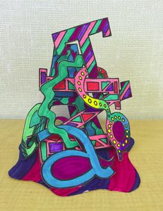 Name Sculpture The first project I had my students do was a name sculpture. This was the inspiration for the project (scro. Sculpture Lessons, Sculpture Art, Paper Sculptures, Sculpture Projects, Name Art Projects, 3d Projects, 7th Grade Art, Middle School Art Projects, Jr Art