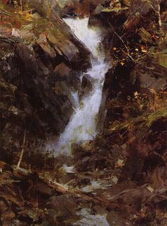 'Cumbrian Waterfall, Scotland', oil, x Richard Schmid Abstract Landscape, Landscape Paintings, Waterfall Paintings, Virtual Art, Art Academy, Traditional Paintings, Plein Air, Painting Inspiration, Pastel