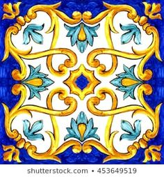 ornament on Italian tiles, majolica, cyan, outline, seamless Tile Patterns, Textures Patterns, Azulejos Art Nouveau, Italian Pattern, Cyan, Tuile, Italian Tiles, Hand Painted Ceramics, Islamic Art