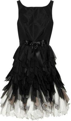 ShopStyle: Oscar de la Renta Fringed-skirt silk-taffeta dress