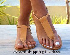 CHLOE sandals/ Greek leather sandals/ t-strap sandals/ ancient grecian sandals/ handmade sandals/ Greek flats/ natural beige color sandals