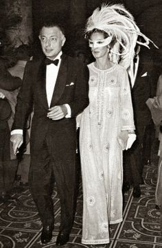 Marella Agnelli in Mila Schon at Truman Capote's Black and White Ball