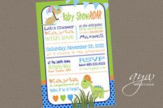 Dinosaur Baby Shower Invitation Dinosaur  by AsYouWishCreations4u