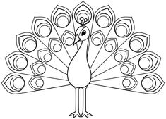 Peacock Outline, Peacock Drawing, Peacock Pattern, Mom Drawing, Drawing For Kids, Art For Kids, Templates Printable Free, Free Printables, Outline Drawings