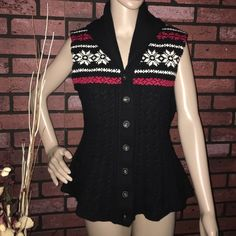BNWOT Ralph Lauren fair isle cable knit vest L Never worn! Falls under the fell-in-love-but-never-got-around-to-wearing category.  Has a bit of flare to the bottom, which gives it a more feminine feel. Very soft! 80% wool, 20% cashmere. Price is firm. Ralph Lauren Sweaters