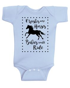 If Wishes Were Horses Baby Horse Onesie, Infant Baby Shower Gift for Girls Boys or Surprise, Blue Gray Yellow Mint Equestrian Clothing by EquestrianCreations on Etsy
