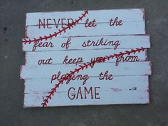 Baseball Pallet Sign - Would be the perfect quote and such cute wall decor for the boys' room! (DIY or buy on Etsy) Pallet Crafts, Pallet Art, Pallet Signs, Wood Crafts, Diy And Crafts, Arts And Crafts, Pallet Ideas, Wood Projects, Craft Projects
