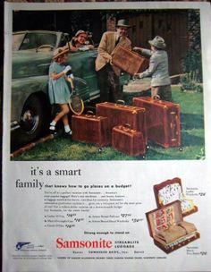 Samsonite vintage suitcase, print ad from 1958.