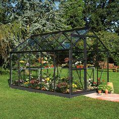 Serre Popular 106 noire verre horticole 6,2m² + base