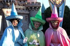 "The three ""good"" fairies of Sleeping Beauty, also called Aurora's fairy godmothers. Either name works. Disney And More, Disney Love, Disney Magic, Disney Disney, Hong Kong Disneyland, Disneyland Resort, Disney Cruise Line, Disney Parks, Princess Tea Party"