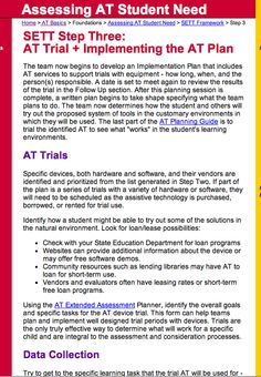 SETT Step Three:  AT Trial + Implementing the AT Plan - from the Assistive Technology Training Online Project