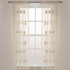 Fleur-De-Lis Sheer Window Curtain Panel in Ivory - BedBathandBeyond.com