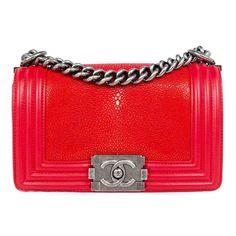 Red Stingray leather Chanel Boy bag