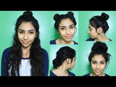 Easy Bun Hairstyles (Curly Penny) - YouTube