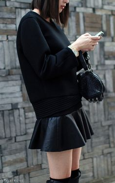 look I thought about it... and I'm paying it. leather + black flippy skirt. yep.
