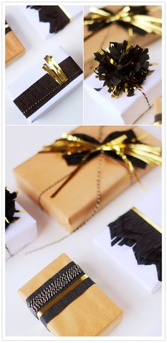 trop classe le papier noir pour emballer ou faire des pompons ! - Gift wrapping - love black, gold, and kraft