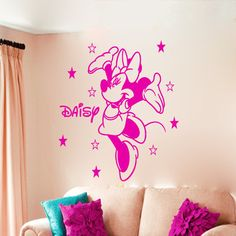 Disney Minnie Mouse 400mm(H) x 270mm (W) Personalised Wall Sticker Art Decal Mural Vinyl Kids room 003