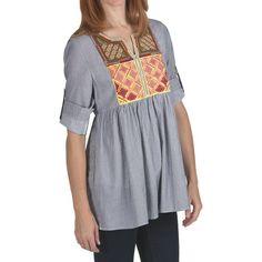 True Grit Indigo Stripe Shirt - 3/4 Roll Sleeve. I like the colorful woven bib, 3/4 sleeves, gathers in back.