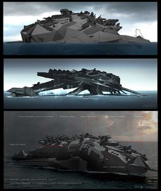 Battleship Concept Art by George Hull. Spaceship Art, Spaceship Design, Robot Concept Art, Weapon Concept Art, Army Vehicles, Armored Vehicles, Concept Ships, Concept Cars, Starship Concept