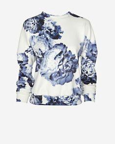 Lover Floral Print Scuba Pullover
