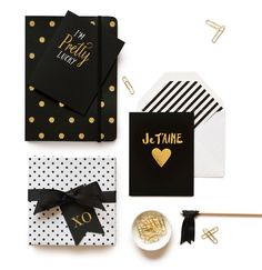 Black and gold stationary from Sugar Paper