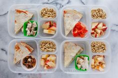 Pizzadillas - just a quesadilla with tomato sauce and mozzarella. Sides of either turkey, nuts, or peppers, and apples and cheerios.