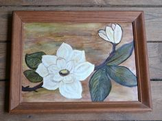 Vintage Oil Painting Wood Frame Magnolia Flower by PanchosPorch, $12.75