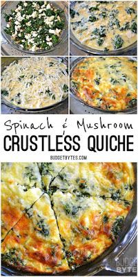 Spinach Mushroom and Feta Crustless Quiche - Budget Bytes - Spinach and Mushroom Crustless Quiche is a great low carb breakfast or brunch tread packed with veg - Low Carb Recipes, Diet Recipes, Vegetarian Recipes, Cooking Recipes, Healthy Recipes, Vegan Vegetarian, Recipies, Vegetarian Quiche, Pasta Recipes
