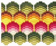 ideas for crochet rug patterns free flower Bargello Needlepoint, Broderie Bargello, Bargello Patterns, Crochet Rug Patterns, Needlepoint Stitches, Stitch Patterns, Needlework, Hand Embroidery Designs, Embroidery Patterns