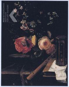 Stilleven met vaas bloemen, blokfluit, boek en zandloper