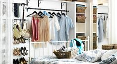 Dressing pas cher ikea Plus Small Closet Space, Small Space Bedroom, Small Spaces, Open Wardrobe, Wardrobe Rack, Dressing Pas Cher, Buy Clothes Online, Clothing Storage, Closet Bedroom