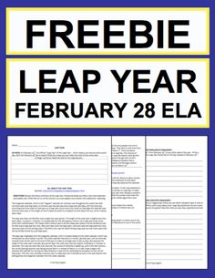Leap Year Leap Day Activities: Free Printables:  Free NO PREP Leap Year student printables. Simply print, project & teach this LEAP YEAR - LEAP DAY!! File includes link to LEAP YEAR - LEAP DAY History & Traditions Article, Informational Reading Response, Expository Writing Prompt, Persuasive Writing Prompt, Creative Writing Prompt, Holiday Acrostic Poem and Holiday Word Search