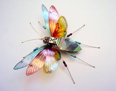 Artist Julie Alice Chappell creates beautiful miniature sculptures of insects using discarded circuit boards.