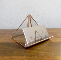 Clear Stained Glass Pyramid Business Card Holder - Made to Order by RagNBoneStudio