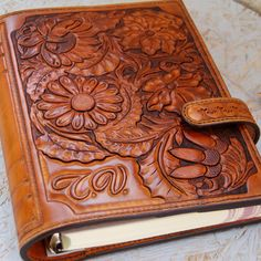 Leather Journal Floral ornament Genuine Leather Journal by TiVergy