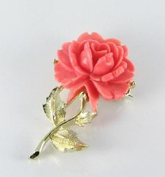 Coral colored Rose Flower Celluloid Brooch Pin