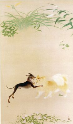 "Koda Kobayashi ""Dog (one corner of the garden)"" Japanese Dog Breeds, Japanese Dogs, Classic Paintings, Beautiful Paintings, Japanese Art Styles, Japanese Flowers, Korean Art, Japanese Painting, Japan Art"